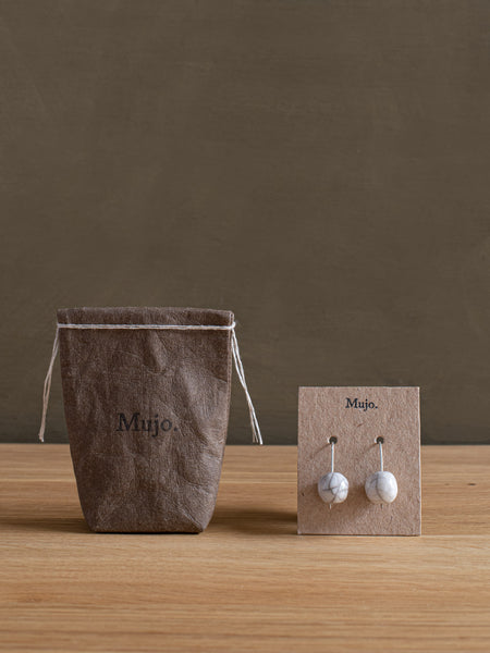 Raku Drop Earrings - Off White