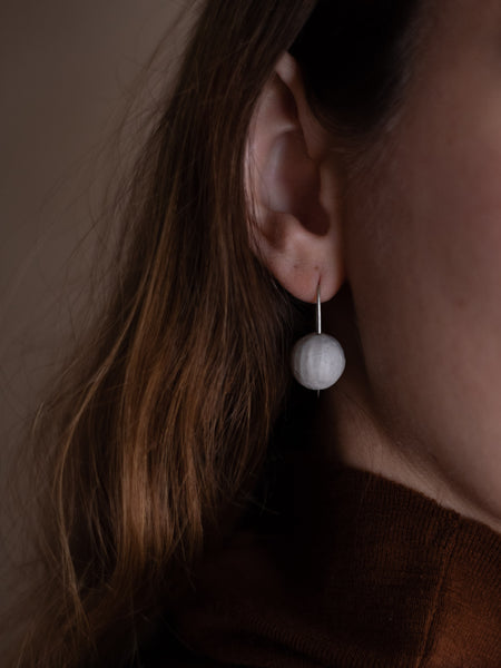 Stoneware Drop Earrings - Slip Carved