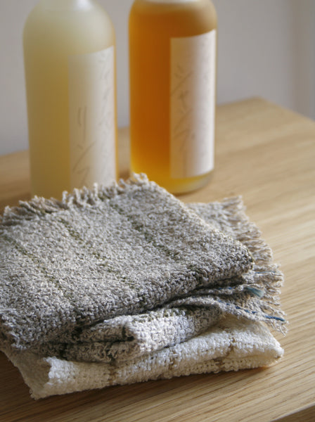 Linen Wash Cloth - White/Sage