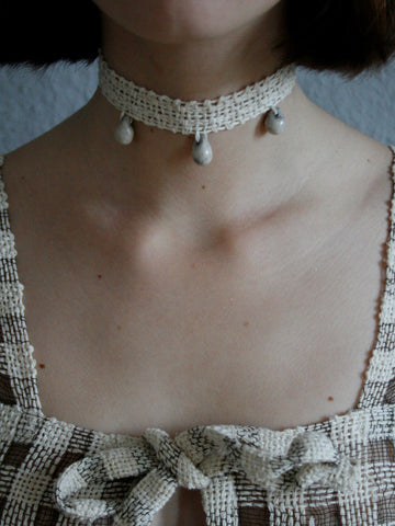 Lace Tri Drop Collar - Off White
