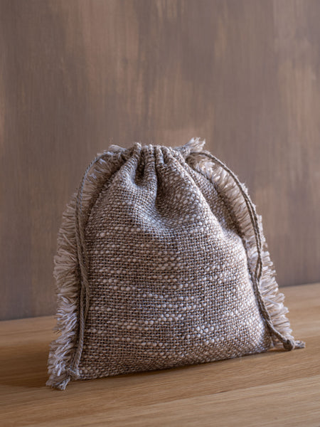 Handwoven Drawstring Bag - Linen/Wool
