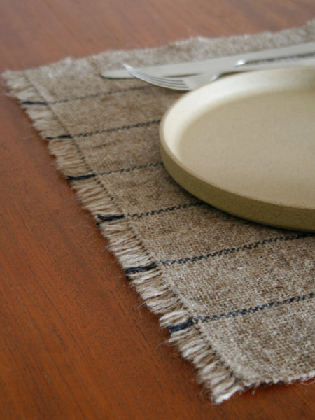 Handwoven Table Mat - Natural/Indigo