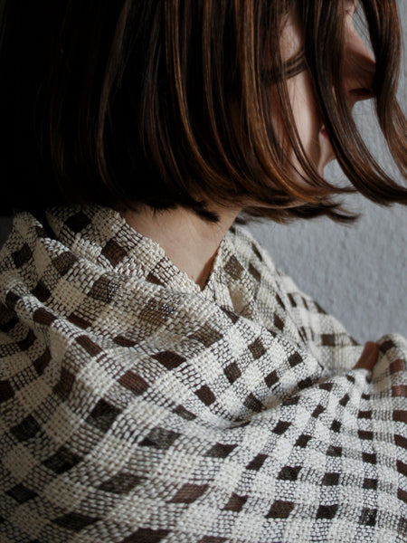 Steel and Paper Check Shawl