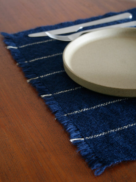 Handwoven Table Mat - Indigo/Sand