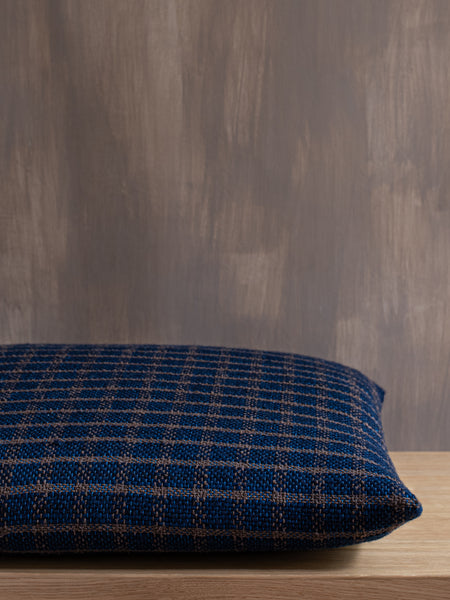 Handwoven Indigo Check Cushion Cover
