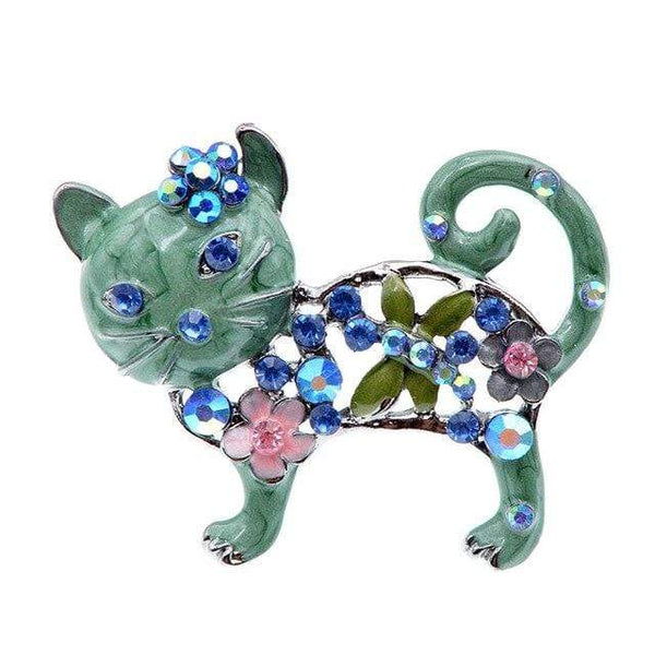 "CINDY XIANG Official Store Broches green Broche ""CHAT STRASS"" ""LE BOULEDOGUE FRANÇAIS""™"