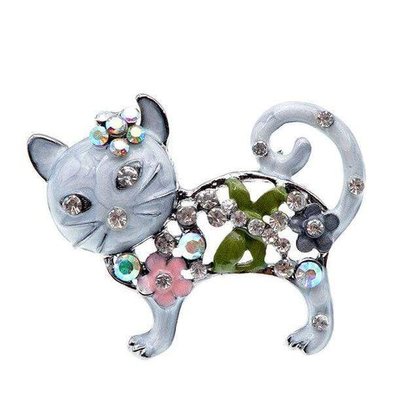 "CINDY XIANG Official Store Broches grey Broche ""CHAT STRASS"" ""LE BOULEDOGUE FRANÇAIS""™"