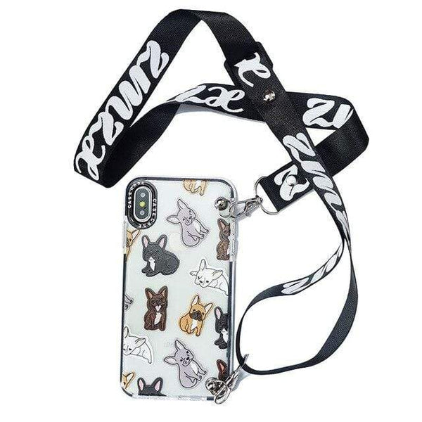 "ISIT Store Coques for iPhone 7 or 8 / style1 with strap Coque Iphone ""LE BOULEDOGUE FRANÇAIS""™"
