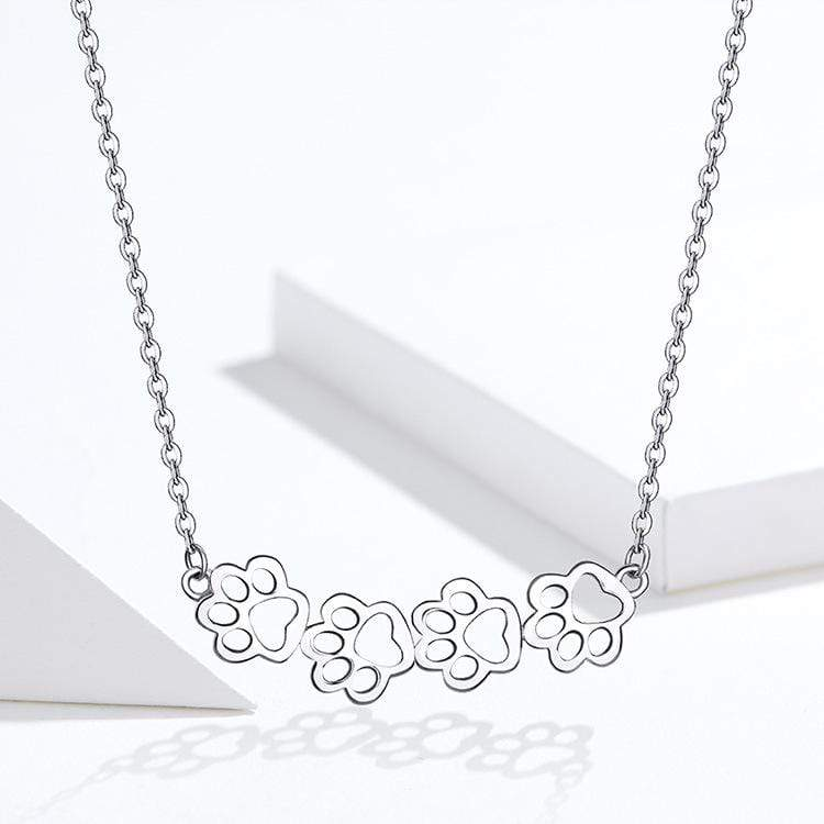 Katastimachling Pendentif Colliers Silver Cat footprints with white gold necklace