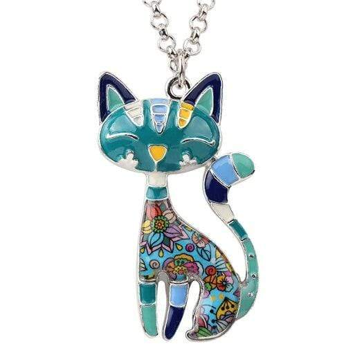 "WEVENI Official Store Pendentifs de collier Blue Collier ""LE CHAT"""