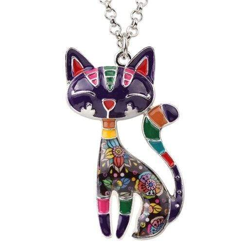 "WEVENI Official Store Pendentifs de collier Purple Collier ""LE CHAT"""