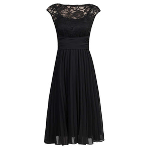 Lace Bodice Pleated Dress, Black