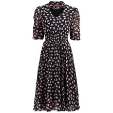 Load image into Gallery viewer, V Neckline Ruched Sleeve Tea Dress, Black Pattern