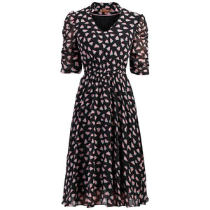 V Neckline Ruched Sleeve Tea Dress, Black Pattern