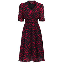 Load image into Gallery viewer, V Neckline Ruched Sleeve Tea Dress, Red