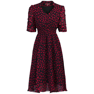 V Neckline Ruched Sleeve Tea Dress, Red