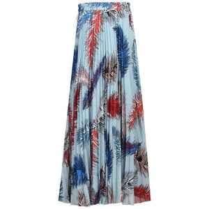 Pleated Feather Maxi Skirt, Blue Multi