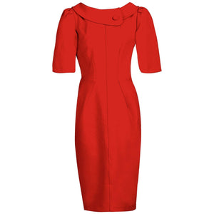 Jolie Moi Roll Collar Shift Dress, Red