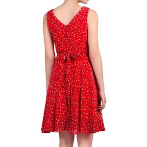 Jolie Moi Floral Print Chiffon Dress, Red Floral