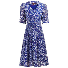 Load image into Gallery viewer, V Neckline Ruched Sleeve Tea Dress, Blue Pattern