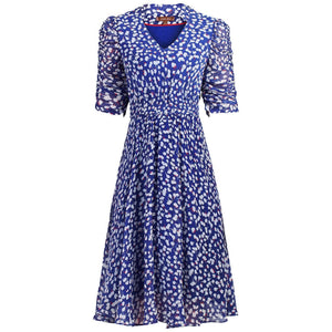 V Neckline Ruched Sleeve Tea Dress, Blue Pattern