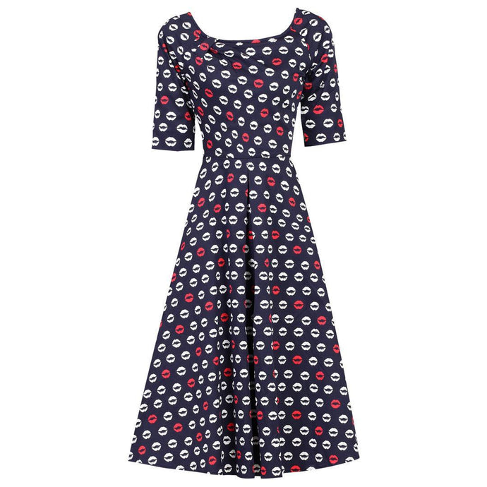 Jolie Moi Lip Print Midi Dress, Navy Pattern