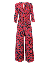 Load image into Gallery viewer, 3/4 Sleeve Wrap Front Jumpsuit, Red Spot
