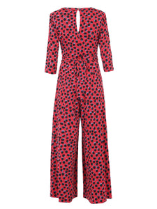 3/4 Sleeve Wrap Front Jumpsuit, Red Spot