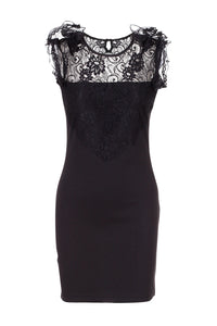 Lace Frill Shoulder Bodycon Dress, Black