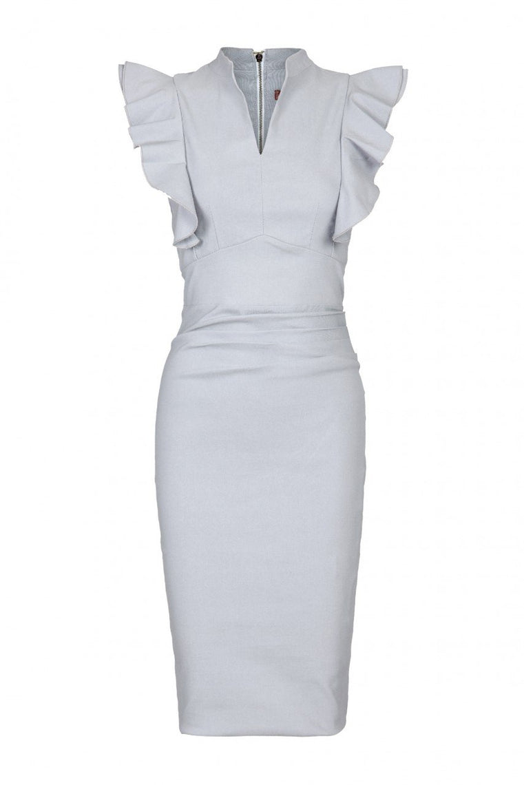 Jolie Moi Ruffle Shoulder Bodycon Dress, Grey