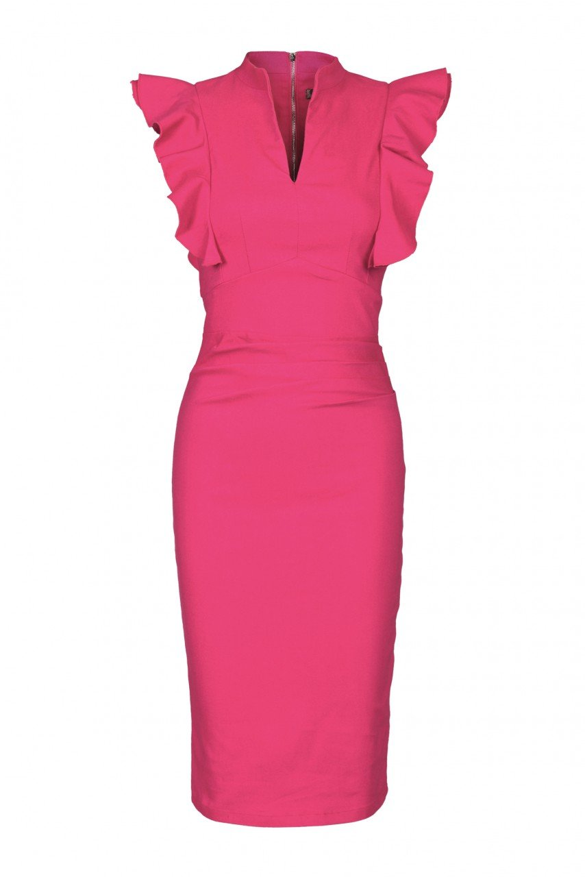 Jolie Moi Ruffle Shoulder Bodycon Dress, Cerise