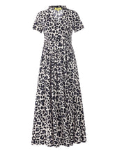 Load image into Gallery viewer, Stand Collar V Neck Maxi Dress, Pink Animal - Jolie Moi Retail