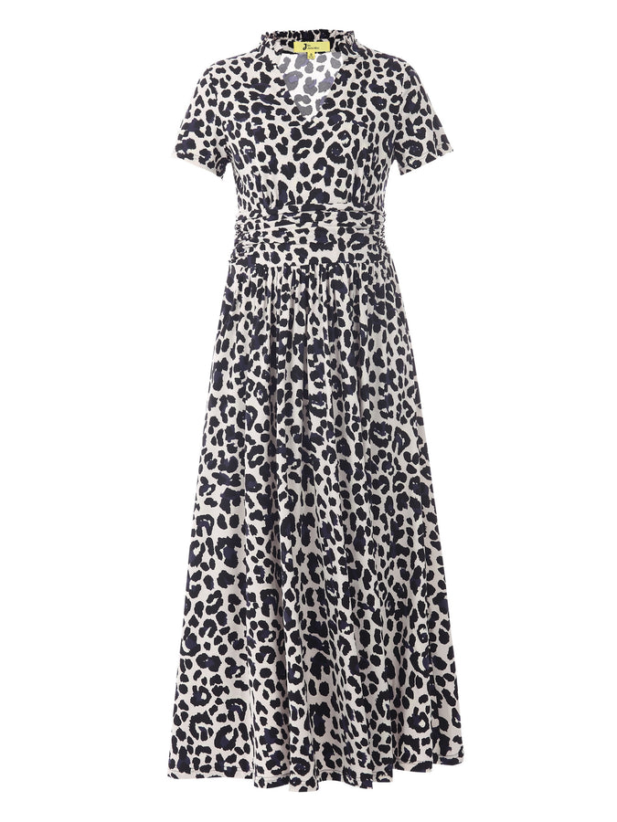 PRE-ORDER Stand Collar V Neck Maxi Dress, Pink Animal