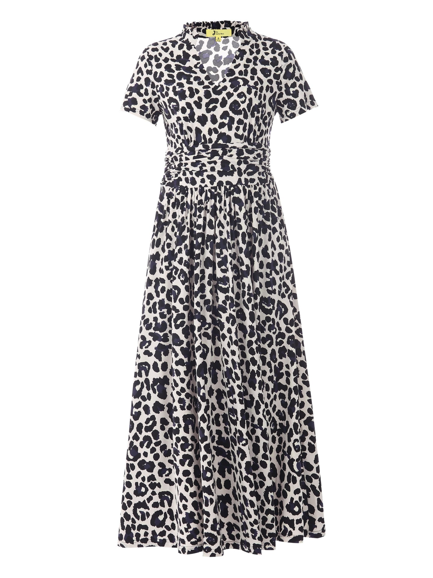 Stand Collar V Neck Maxi Dress, Pink Animal - Jolie Moi Retail
