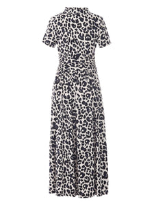 Stand Collar V Neck Maxi Dress, Pink Animal