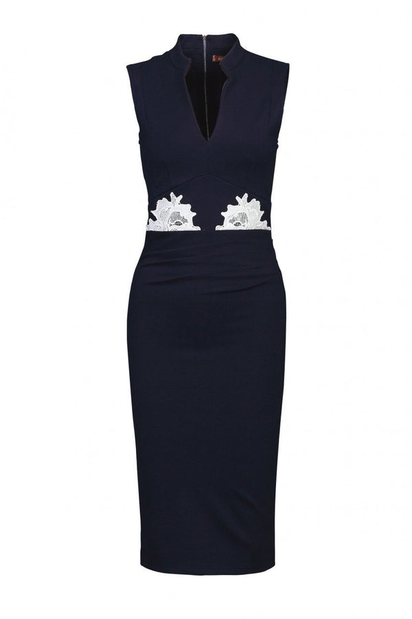 Lace Applique Bodycon Dress, Navy