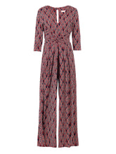 Load image into Gallery viewer, 3/4 Sleeve Wrap Front Jumpsuit, Navy Multi