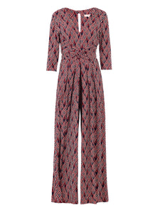 3/4 Sleeve Wrap Front Jumpsuit, Navy Multi