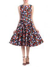 Load image into Gallery viewer, Pineapple Pattern Printed Swing Dress, Navy