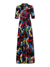 Load image into Gallery viewer, Tie Collar Maxi Dress, Black Multi
