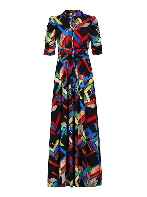 Tie Collar Maxi Dress, Black Multi