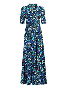 Star Print Tie Collar Maxi Dress, Navy Star