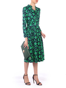 Tie Neck Long Sleeve Midi Dress, Green Spot