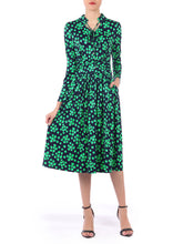 Load image into Gallery viewer, Tie Neck Long Sleeve Midi Dress, Green Spot