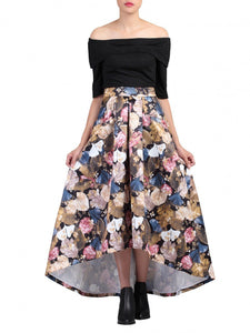 Floral Printed High Low Hem Prom Skirt