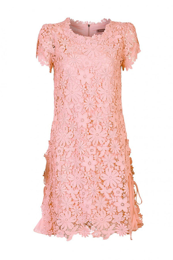 Crochet Lace Side Pleated Dress, Coral