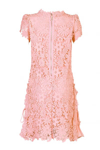 Jolie Moi Crochet Lace Side Pleated Dress, CORAL