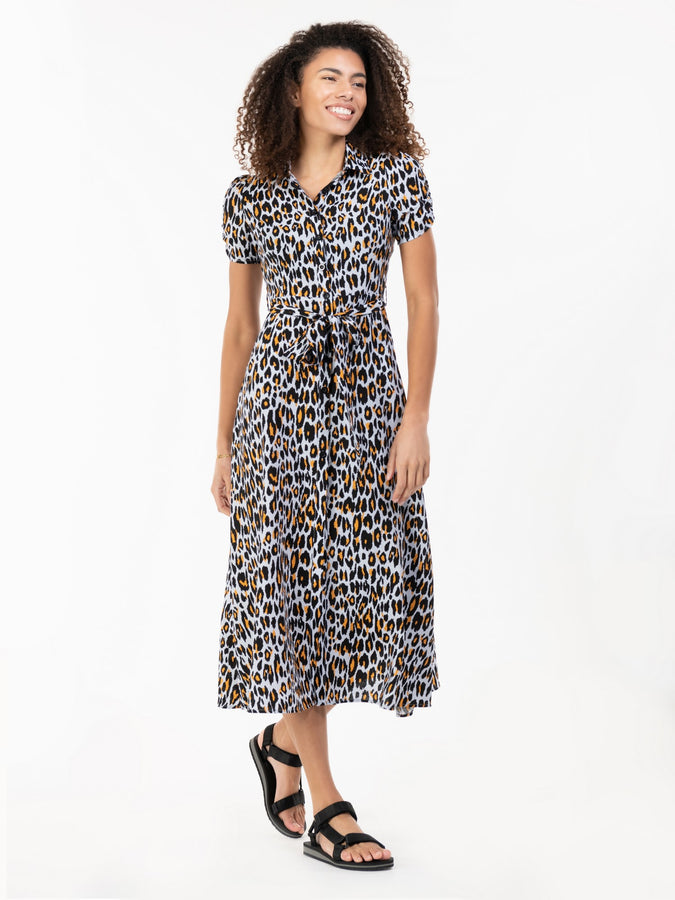 Danni Crepe Shirt Midi Dress, Blue Animal