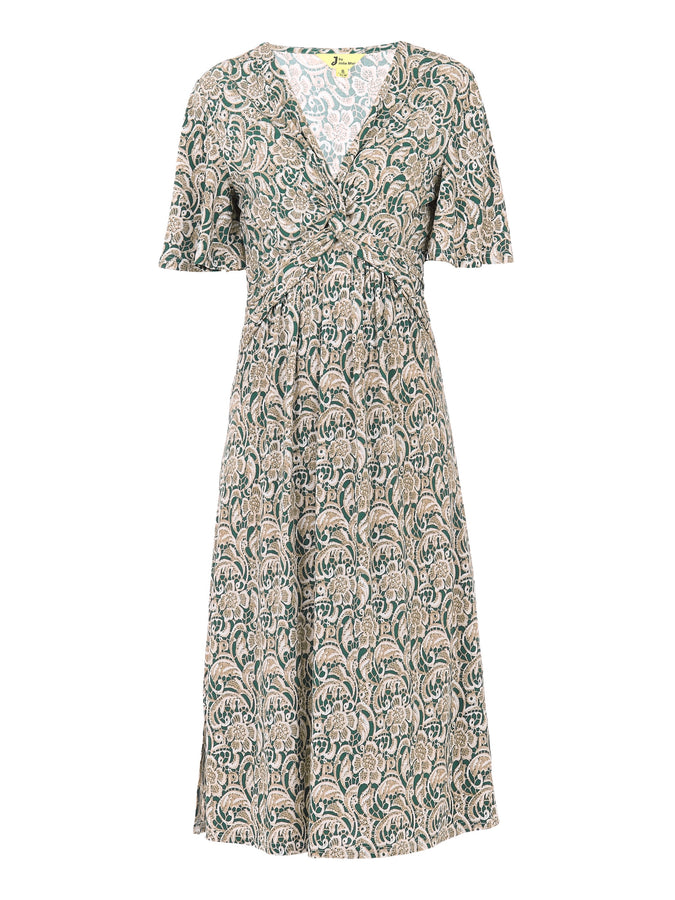 Twist Front Midi Jersey Dress, Green Pattern