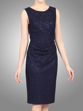 Load image into Gallery viewer, Jolie Moi Lace Bonded Sequin Shift Dress, Navy